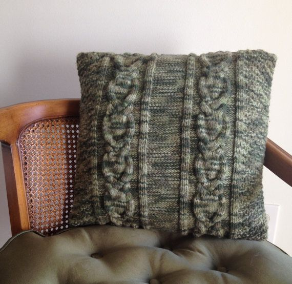 Custom cable knit cushion green mix hand knitted by Adorablewares, $36.00