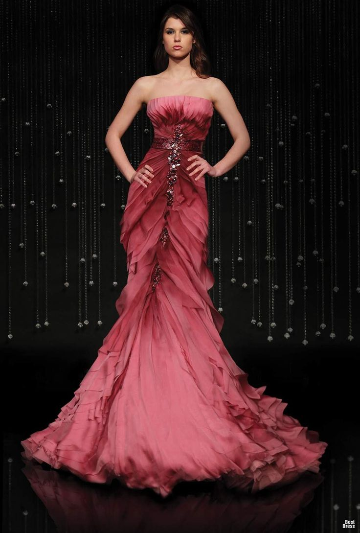Jean Fares -  Jeweled waist featured over soft, veriegated rose gown