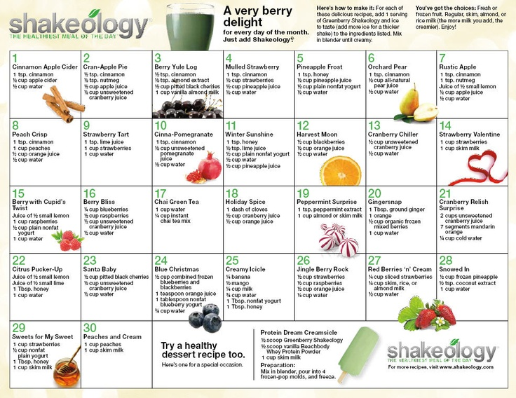 Click here to print and hang the 30 days of Christmas, Greenberry Shakeology Recipe Calendar on your fridge