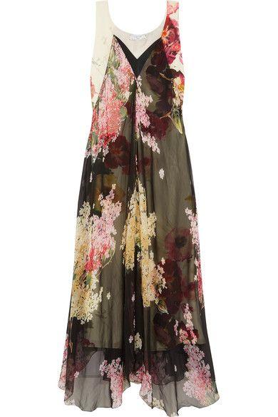 Lanvin - Floral-print Silk-chiffon And Crepe De Chine Gown - Black - FR38