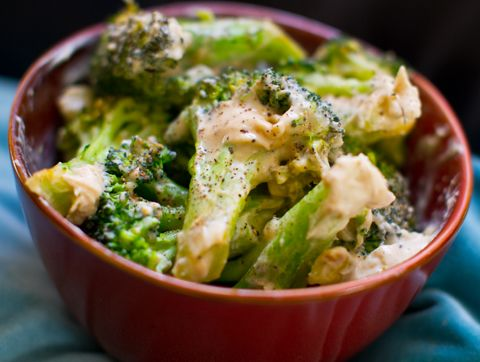 Two-Ingredient Creamy Garlic Broccoli makes 4 cups broccoli  3 1/2 cups broccoli florets 1/2 cup creamy garlic hummus black pepper + lemon juice to taste  Directions:  1. Steam, boil, roast or grill your broccoli florets. 2. Toss the warm florets in the hummus — coating it as you would pasta with pasta sauce. 3. Serve warm or place in the fridge to chill. This broccoli is delicious served both warm and chilled.  Add lemon juice and black pepper over top to serve.