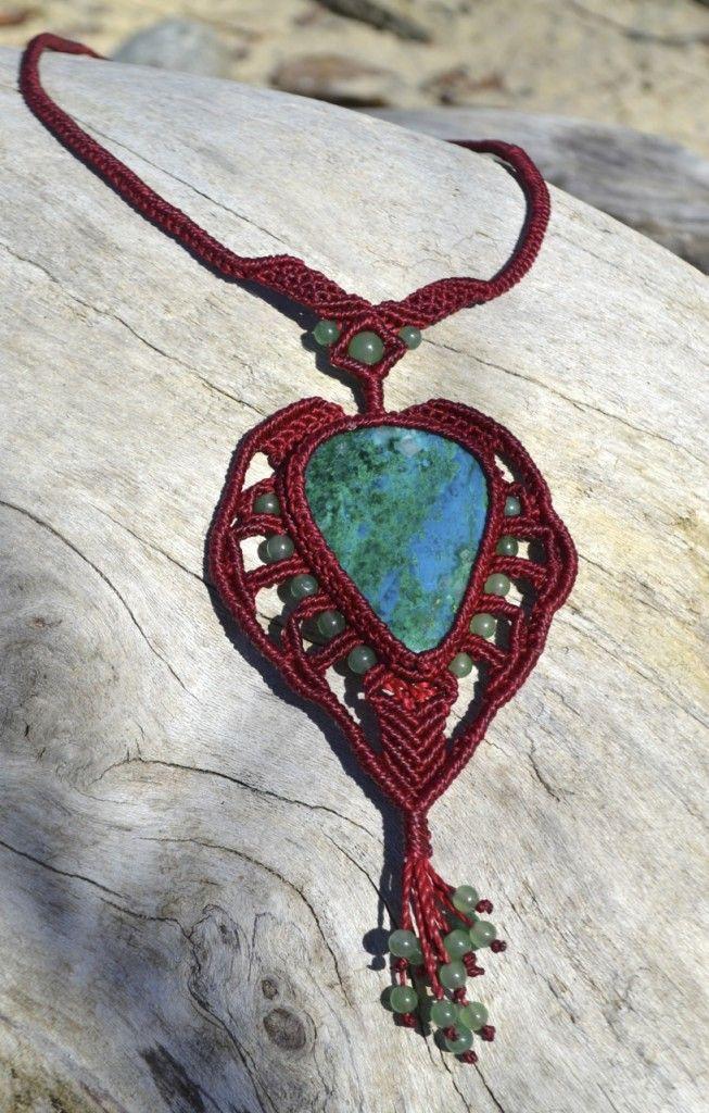 Macrame Necklace with Chrysocolla & Jade Stones by Coco Paniora Salinas