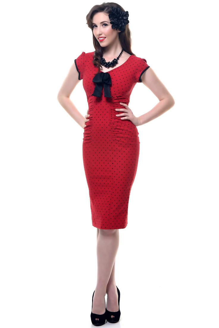 1940s Style STOP STARING Red & Black Polka Dot Cap Sleeve Wiggle Bow Tie Dress - Unique Vintage - Prom dresses, retro dresses, retro swimsuits.
