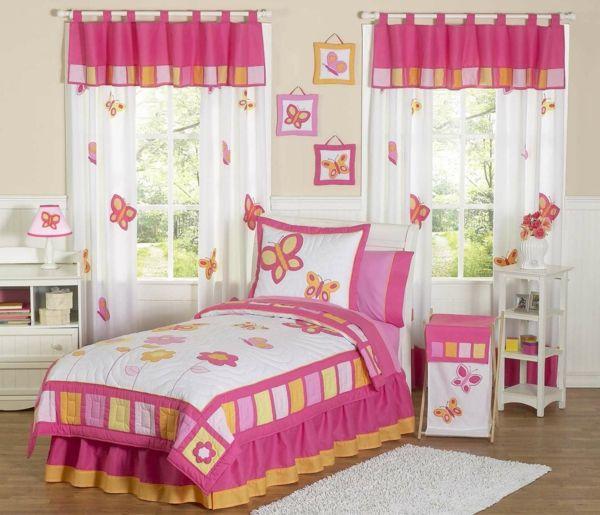 vorhang kinderzimmer wei e gardinen farbige schmetterlinge kinderzimmer kidsroom pinterest. Black Bedroom Furniture Sets. Home Design Ideas
