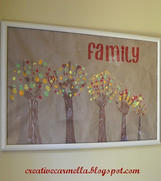 Family Art Project. Trees are made out of everyone's handprint and the leaves are thumbprints. I Love this!