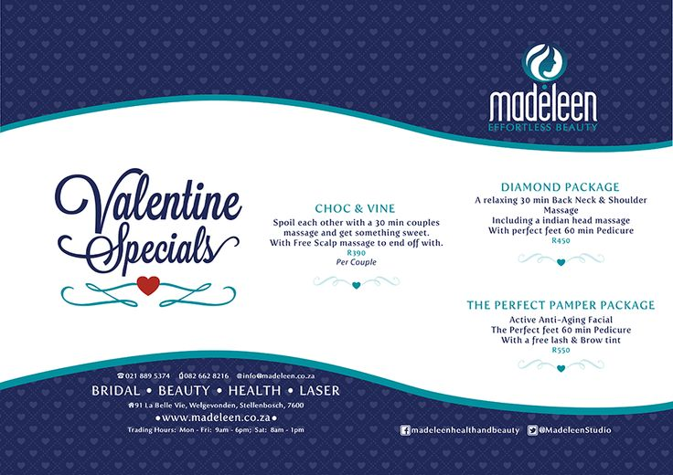 Its the month of love, and we have put together some great packages that will make you love us even more!!!  Enjoy this month with that special someone at Madeleen Health & Beauty Studio and get ready to be pampered.   Book now to avoid disappointment: 021 889 5374