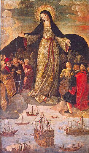Madonna con caravelle e imbarcazioni, Madonna dei Navigatori di Alejo Fernàndez, cappella della Casa de Contratación dell'Alcázar di Siviglia (Spagna). È il più vecchio dipinto conosciuto il cui soggetto è la scoperta delle Americhe.