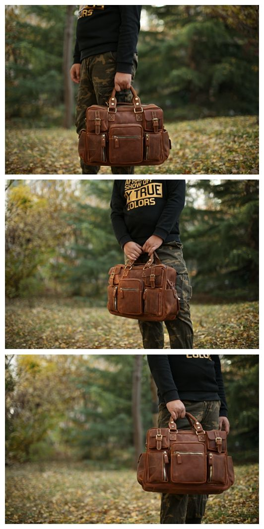 Handmade Men's Leather Briefcase Travel Bag Holdall Messenger Bag Laptop Bag 7028 Overview: Design: Vintage Leather Briefcase In Stock: 4-5 days For Making Include: Leather Briefcase with Shoulder Str