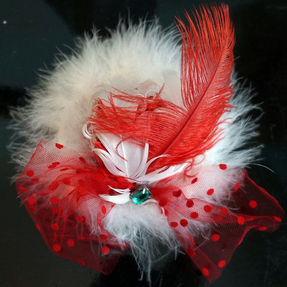 Girls Red and White Feather Christmas by ChantillyLaceDesigns