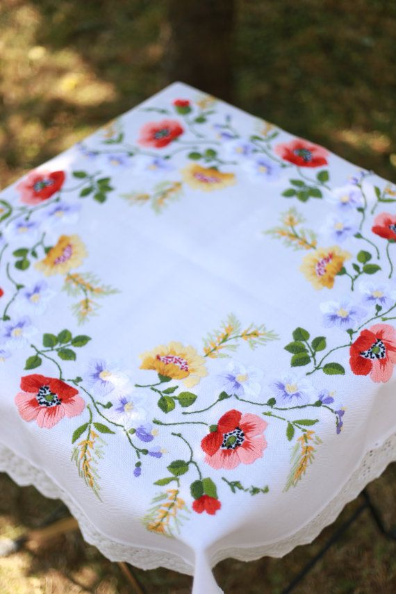 Vintage white large embroidered tablecloth by DoiliesLaceCrafts