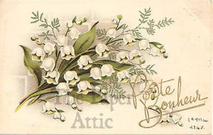 Lily of the Valley Vintage French Chromo Postcard