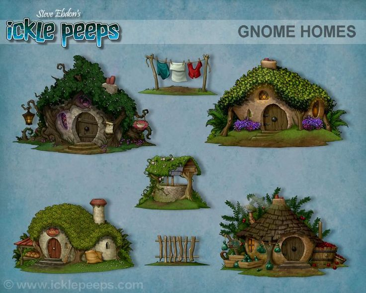A set of 4 Gnomish buildings and 3 additional props in PNG format