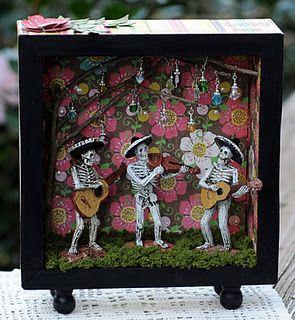 A Dia de los Muertos shadow box by Susan @ Killam Creative.