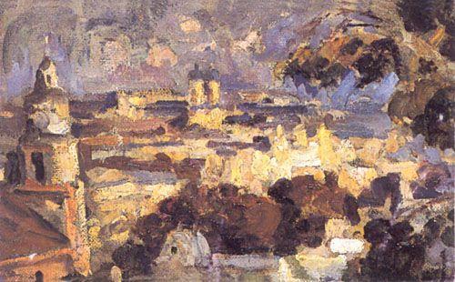 PANORAMA DE SANTIAGO,  Óleo sobre Tela 48.5 x 52.5 cm Museo Nacional de Bellas Artes