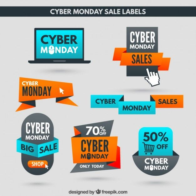 Free vector Cyber Monday Discount Labels #33346