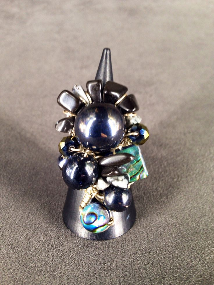 Hematite, Snowflake Obsidian and Abalone Shell Sterling Silver Ring by TrinesTreasures on Etsy