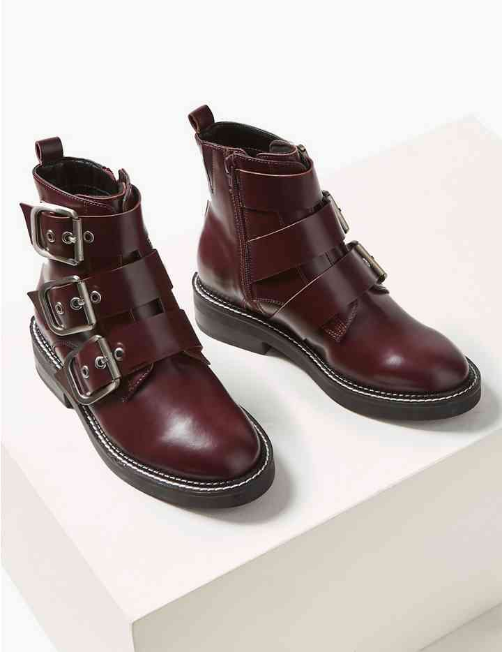 Leather Buckle Detail Ankle Boots   M\u0026S