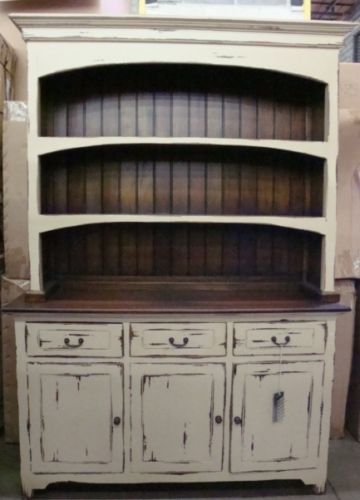 Good Farmhouse Open Hutch Buffet Cabinet Distressed Mahogany