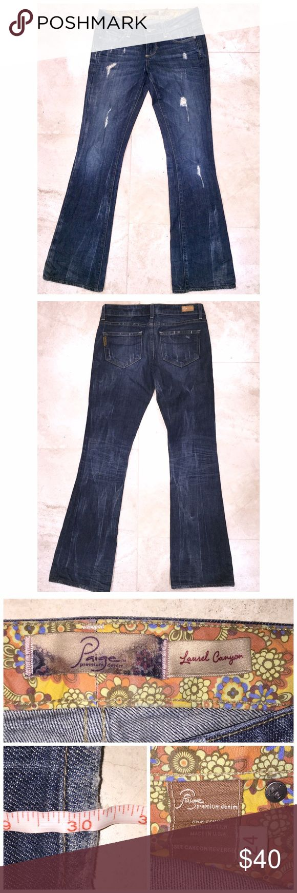 "💲⬇️Paige Jeans💲⬇️ Paige ""Laurel Canyon"" Jeans in size 24 with a 30"" inseam come in VERY GOOD condition. These destroyed boot cut jeans are a mid rise with manufactured distress in all of the perfect places. Light fraying at the hems but in otherwise EXCELLET condition! My prices fluctuate from time to time. Catch items when the prices are low!❤️ Paige Jeans Jeans Boot Cut"