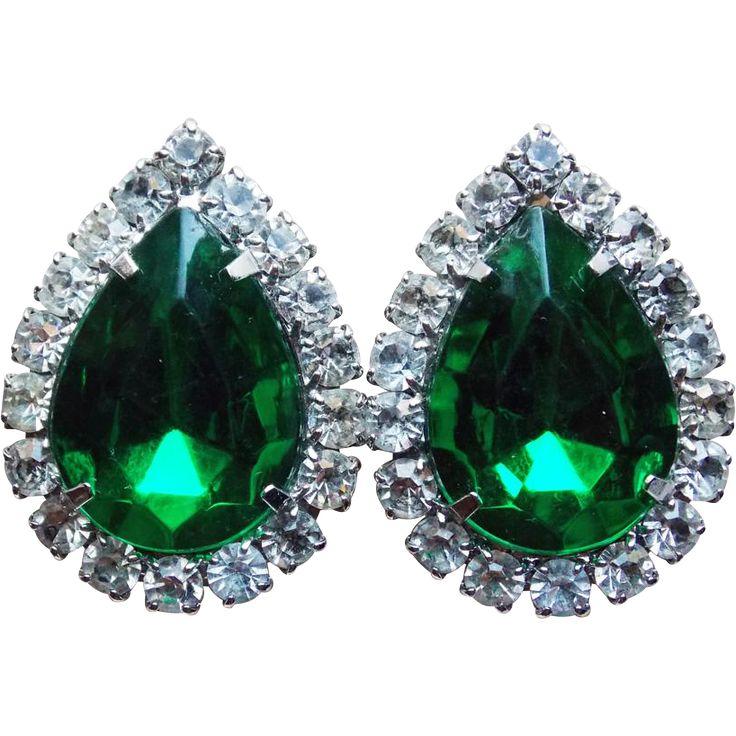 Gorgeous Green Stone & Clear Rhinestone Vintage  Earrings.  Vintage Jewelry under $25 at Ruby Lane @Ruby Lane