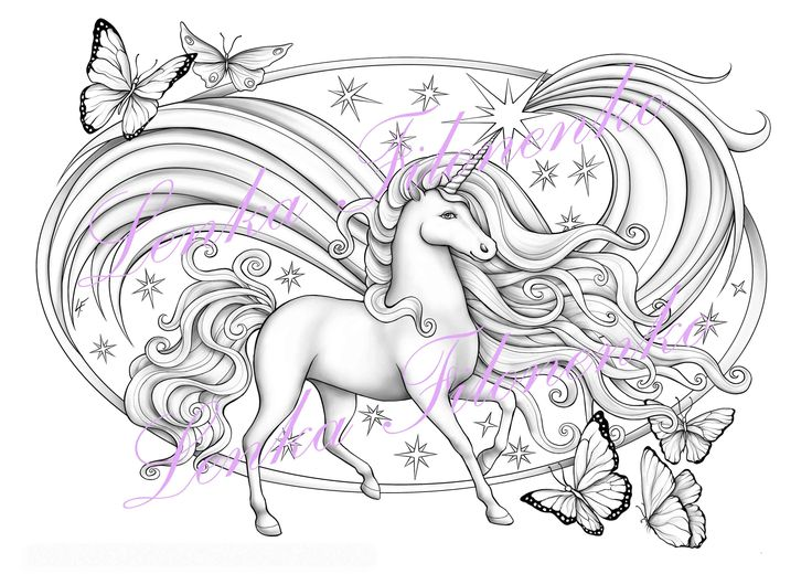 Coloring page for adults, Unicorn,Grey scale PDF