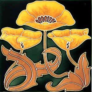 Antique Art Nouveau - Decco Style - Stovax Ceramic Tile