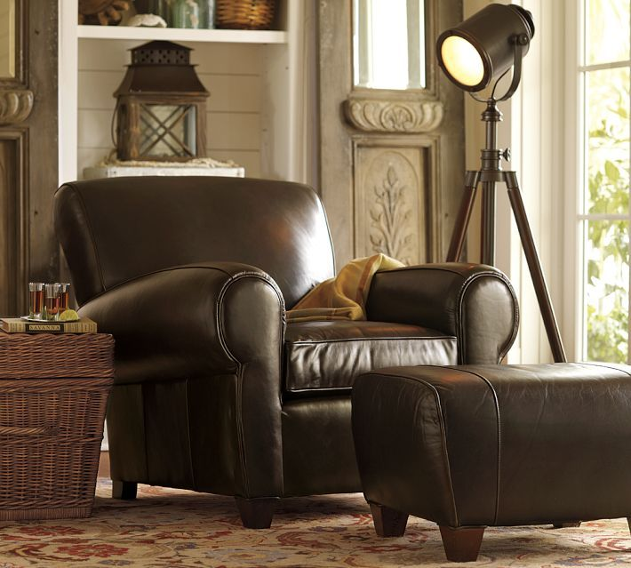 Pottery Barn Living Room Leather Club Chairs Club
