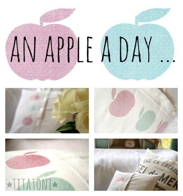 Schneller kann man kaum eine neue Kissenhülle zaubern:    Einfach das Hemd noch einmal gründlich bügeln (Hurra - ohne Ärmel), auf links ziehen, feststecken, Kissenumriss aufzeichnen, einmal rundherum nähen & verzäubern und wieder auf rechts ziehen.  Die Äpfel habe ich mit Transferpapier (z.B. von HIER) aufgebügelt.   Jetzt nur noch die Füllung rein  - fertig!