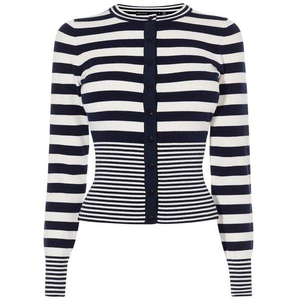 Karen Millen Stripe Cardigan, Navy/White ($93) ❤ liked on Polyvore featuring tops, cardigans, short-sleeve cardigan, white long sleeve cardigan, fitted cardigan, white long sleeve top and long sleeve tops