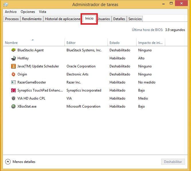 """Windows tiene la opcion de administrar los programas q iniciaran el sistema operativo, mientras mas programas se carguen el inicio sera mas lento, a esta opcion se puede acceder desde el administrador de tareas. Para acceder, pulsa Ctrl + Alt + Suprimir (Supr). Seleccione el """"Administrador de tareas"""". En la pestaña """"Inicio"""" elegir los programas que se inicializarán y desactivar cualquier software que no quieres que arranquen al encender su computadora."""
