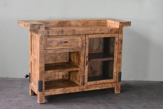 Rustic Distressed Solid Wood Bar With Storage And Foot Rest Reclaimed Wood Bars Wood Bar Table Wood Bars