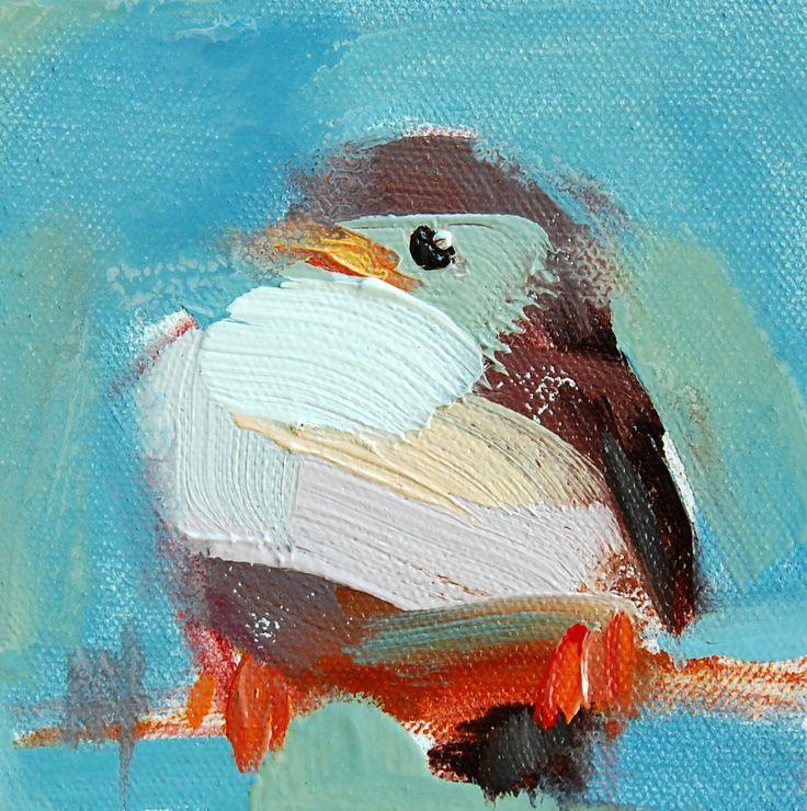 Baby Sparrow no. 3 original bird oil painting by Angela Moulton