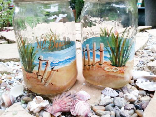 Tropical Theme Painted Wine Bottles Craft Beach Themed Wine Bottles