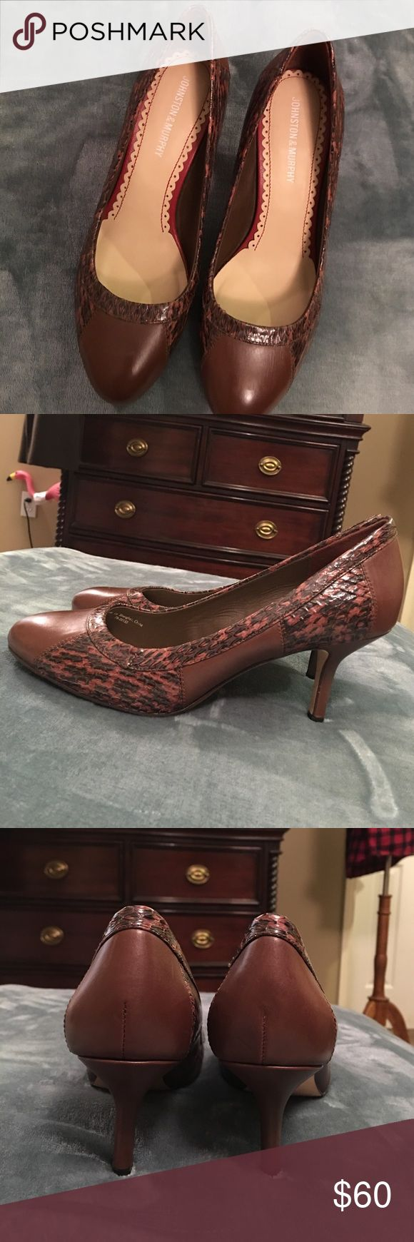 Johnston and Murphy Heels Worn once! Fantastic condition. Real leather. Johnston & Murphy Shoes Heels