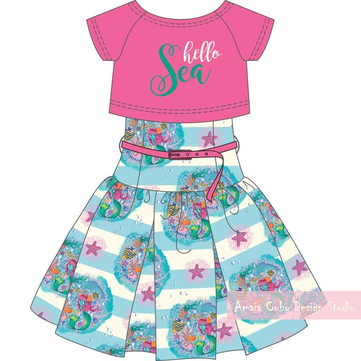 Do you prefer a more classic look and lower the colors? Then this second set is your choice. I have used the pattern changing the yellow background by bold stripes (another must for summer 2019) light blue and white-off. The skirt is high waisted and with long gathering. I have combined it with a fuchsia crop-top of raglan sleeve.https://goo.gl/RrwZRP #sol #sun #pattern #estampado #sirena #mermaid #diseñadorafreelance #freelancedesigner #verano #summer