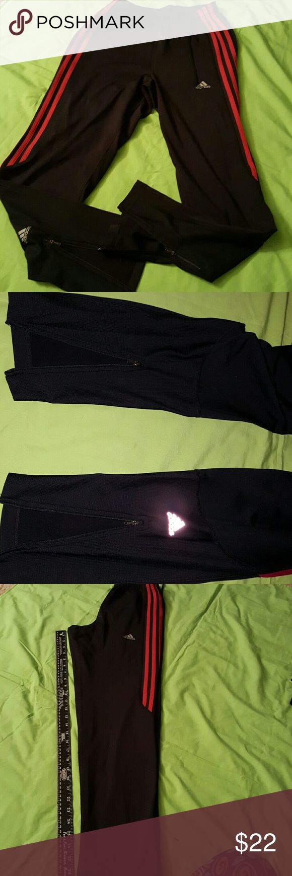 ADIDAS ATHLETIC PANTS SZ SMALL Ladies Adidas athletic pants, black with pink stripes, zipper ankle. EXCELLENT CONDITION Adidas Pants Track Pants & Joggers