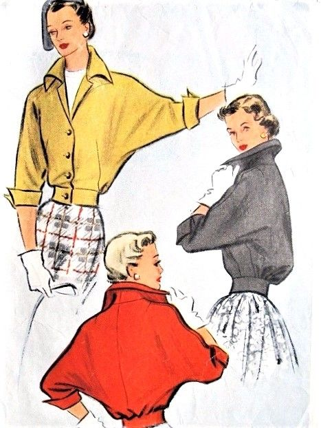 1950s DRAMATIC Designed Jacket Pattern McCALL 7991 Dolman Sleeved Short Jacket Wing Collar and Cuffs Day or Evening Bust 30 Vintage Sewing Pattern