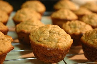 Banana Peanut Butter Oatmeal Muffins - healthy breakfast choice!!  Think I'll make the batter at night and be ready to bake in the morning!