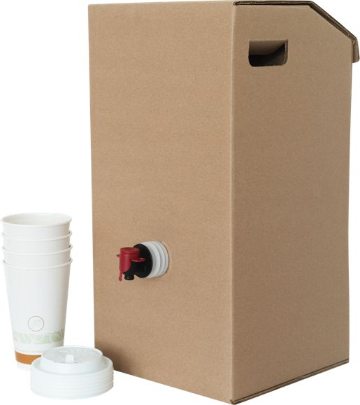 Soup-N-Serve's 2 piece system (bucket and corrugated box) is an easy way to move a gallon on the go. Available in 1 & Half Gallon.
