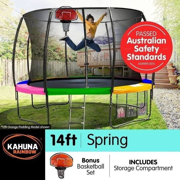 Kahuna 14ft Trampoline with Net Enclosure - Rainbow | Buy 14ft Trampoline