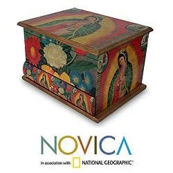 A loving mother, the Virgin of Guadalupe appears on a decoupage jewelry box by Ana Maria Gonzalez.