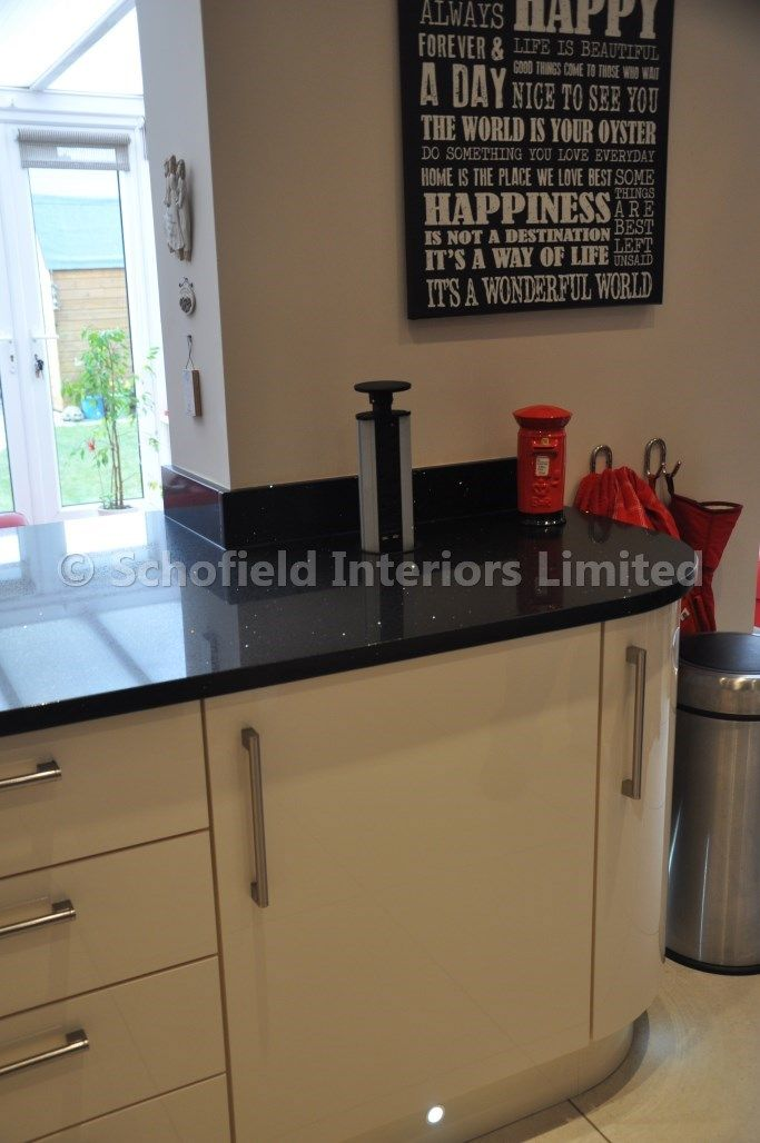 High Gloss Acrylic Kitchen with African Black Granite