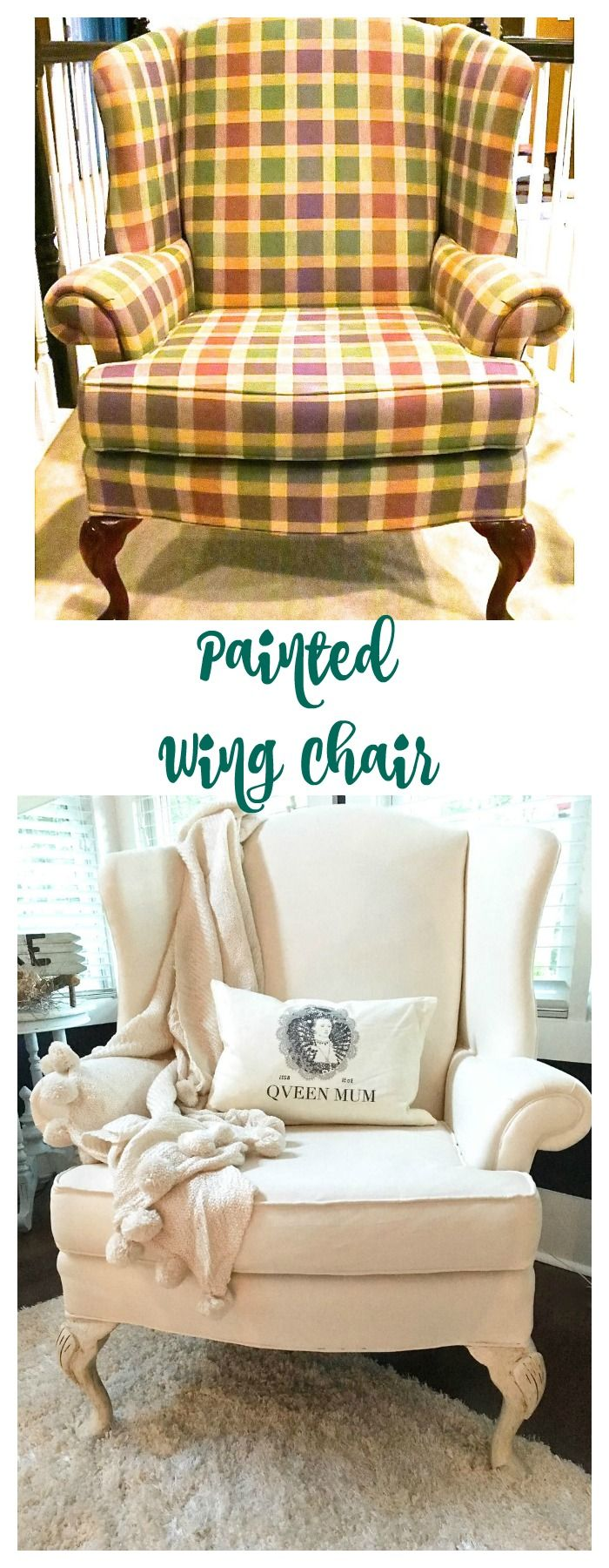Painted Wing Chair. A great DIY project to paint the fabric of an old chair.