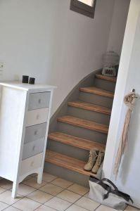 escalier gris & bois