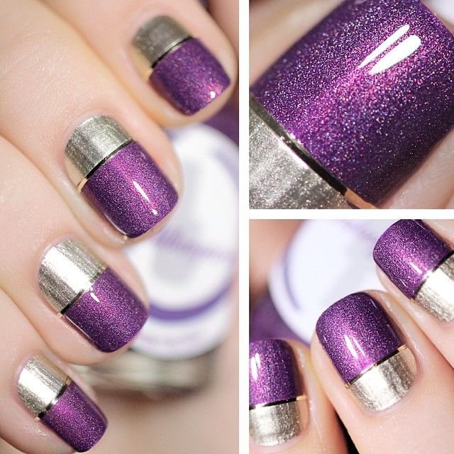 Purple and Silver Metallic Nails by pshiiit_polish @ Instagram: http://instagram.com/p/gqZPYgAjil/