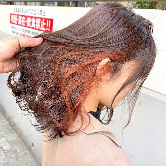 ブラッドオレンジインナーカラー 2020 ヘアスタイリング 髪