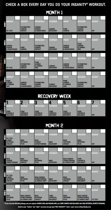 Insanity 60 Day Workout Calendar                                                                                                                                                                                 More