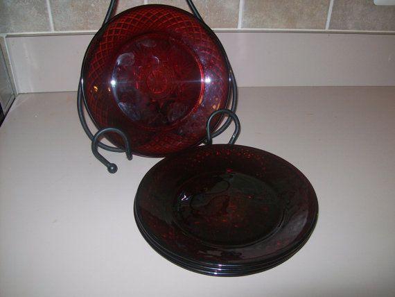 VIntage Luminarc Ruby Red Salad Plates  four by oldnursestreasures, $9.88