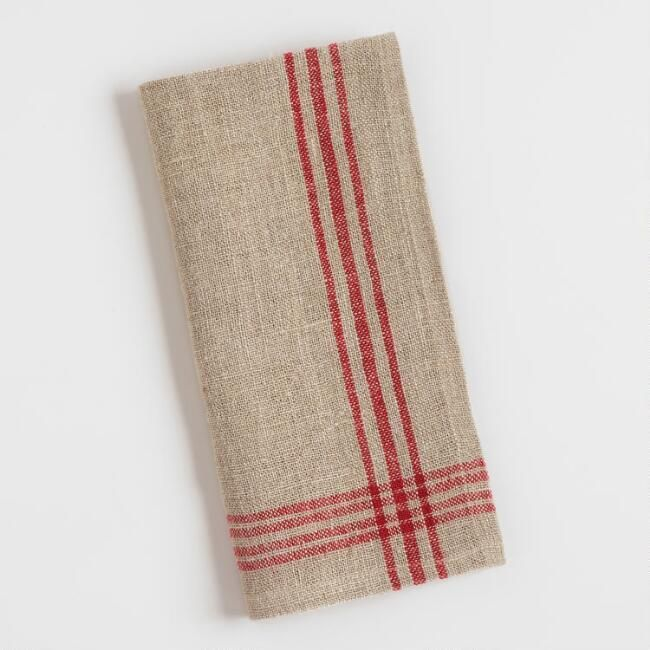 World Market Red Stripe Linen Napkins Set of 4