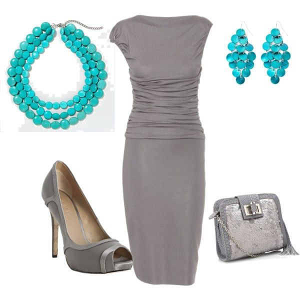 """Julie Chen Inspired Gray and Turquoise"" by bstarling08 on Polyvore: Fashion, Chen Inspired, Inspired Gray, Dreamy Weight, Dress, Weight Goals, Aqua Inspirations, My Style"